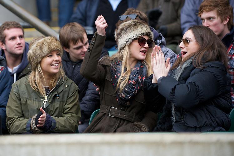 Fans enjoying the 131st Varsity Match between Oxford University and Cambridge University at Twickenham on Thursday 06 December 2012 (Photo by Rob Munro)