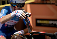 snake saddle for Lilian Calmejane (FRA/Total - Direct Energie)<br /> <br /> Stage 13 (ITT): Pau to Pau(27km)<br /> 106th Tour de France 2019 (2.UWT)<br /> <br /> ©kramon
