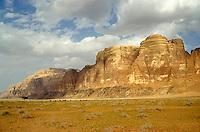 Rock formations in the Wadi Rum desert, Jordan.