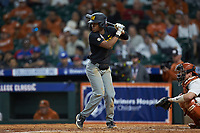Josh Holt Jr. (1) of the Missouri Tigers at bat against the Texas Longhorns in game eight of the 2020 Shriners Hospitals for Children College Classic at Minute Maid Park on March 1, 2020 in Houston, Texas. The Tigers defeated the Longhorns 9-8. (Brian Westerholt/Four Seam Images)