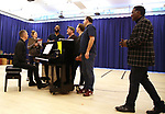 """James Moore, Jessie Mueller, Nicholas Ward, Todd Horman, Arlo Hill, Jimmy Smagula and Norm Lewis during """"The Music Man"""" Media Day Rehearsal at the New 42nd Street Studios on January 24, 2019 in New York City."""