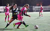 Aalst's Valentine Hannecart pictured in a duel with Ludmila Matavkova (9 Charleroi) during a female soccer game between Sporting Charleroi and Eendracht Aalst on the 8th  matchday of the 2020 - 2021 season of Belgian Scooore Womens Super League , friday 20 th of November 2020  in Marcinelle , Belgium . PHOTO SPORTPIX.BE | SPP | DAVID CATRY