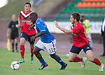 St Johnstone v FC Minsk...01.08.13 Europa League Qualifier at Neman Stadium, Grodno, Belarus...<br /> Nigel Hasselbaink gets away from Aliaksandr Sviarchynski<br /> Picture by Graeme Hart.<br /> Copyright Perthshire Picture Agency<br /> Tel: 01738 623350  Mobile: 07990 594431