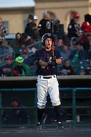 Garrett Stubbs (6) of the Lancaster JetHawks bats against the Visalia Rawhide at The Hanger on May 7, 2016 in Lancaster, California. Lancaster defeated Visalia, 19-5. (Larry Goren/Four Seam Images)