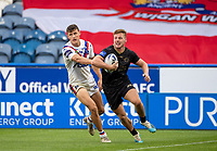 22nd August 2020; The John Smiths Stadium, Huddersfield, Yorkshire, England; Rugby League Coral Challenge Cup, Catalan Dragons versus Wakefield Trinity; Tom Davies of Catalan Dragons clears up under pressure from Wakefield