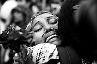 Sister of missing victim of Savar tragedy Nasima Akter weeps as she takes part in a sit-in and deliver tribute to the unidentified victims of Savar tragedy at Jurain Graveyard in the capital  Dhaka, Bangladesh
