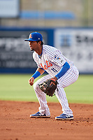 St. Lucie Mets second baseman Luis Carpio (11) during the first game of a doubleheader against the Charlotte Stone Crabs on April 24, 2018 at First Data Field in Port St. Lucie, Florida.  St. Lucie defeated Charlotte 5-3.  (Mike Janes/Four Seam Images)