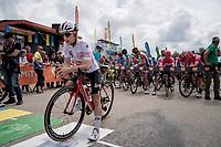 white jersey / best young rider Bjorg Lambrecht (BEL/Lotto-Soudal) at the stage start<br /> <br /> Stage 7: Saint-Genix-les-Villages to Pipay  (133km)<br /> 71st Critérium du Dauphiné 2019 (2.UWT)<br /> <br /> ©kramon