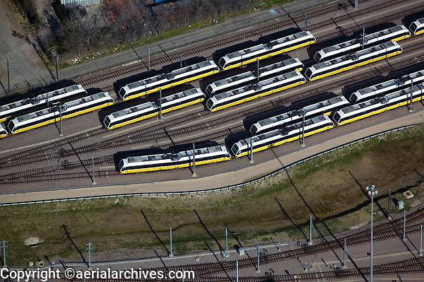 aerial photograph of Dallas Area Rapid Transit (DART) trains, Dallas, Texas