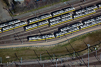 aerial photograph of Dallas Area Rapid Transit (DART) trains, Dallas, Texas