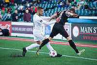 zBROOKLYN, NY - Saturday May 02, 2015: The New York Cosmos beat Ottawa Fury FC 1-0 at a special guest stadium, MCU Park, home of the Brooklyn Cyclones single A baseball on Coney Island in Brooklyn, New York in regular season NASL play.