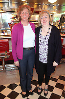 """NO REPRO FEE. 26/5/2011. NEW EDDIE ROCKET'S SHAKE SHOP. Toni O Donoghue and Rachel Zaidan are pictured in the new Eddie Rocket's Shake Shop. The design seeks to recall the vintage milkshake bars from 1950's America and re-imagine them for the 21st century. The new look aims to appeal to both young and old with a quirky and bold colour scheme and a concept of make-your-own milkshakes, based on the tag line """"You make it...We shake it!"""". Eddie Rocket's City Diner in the Stillorgan Shopping Centre in south Dublin has re-opened after an exciting re-vamp and the addition of a Shake Shop. Ten new jobs have been created with the Diner's re-launch bringing the total working in Eddie Rocket's Stillorgan to 30. Picture James Horan/Collins Photos"""