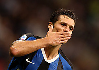 Calcio, Serie A: Inter Milano - Lecce, Giuseppe Meazza stadium, September 26 agosto 2019.<br /> Inter's Antonio Candreva celebrates after scoring during the Italian Serie A football match between Inter and Lecce at Giuseppe Meazza (San Siro) stadium, September August 26,, 2019.<br /> UPDATE IMAGES PRESS/Isabella Bonotto