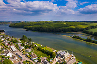 BNPS.co.uk (01202 558833)<br /> Pic: ShorePartnership/BNPS<br /> <br /> Pictured: The house (circled) and Restronguet Creek.<br /> <br /> A brand new waterfront home perfect for paddleboarders is on the market for £1.3m.<br /> <br /> Creek View is built on a former boatyard and has direct water access to Restronguet Creek from steps in the back garden.<br /> <br /> The contemporary four-bedroom house has an open-plan living space and floor-to-ceiling glass overlooking the water to make the most of its stunning location.