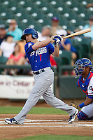 Las Vegas 51s outfielder Mike McCoy #1 swings during the Pacific Coast League baseball game against the Round Rock Express on August 7th, 2012 at the Dell Diamond in Round Rock, Texas. The Express defeated the 51s 5-4. (Andrew Woolley/Four Seam Images).