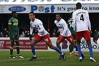 Alex Reid of Dagenham scores the first goal for his team and celebrates during Dagenham & Redbridge vs Notts County, Vanarama National League Football at the Chigwell Construction Stadium on 25th January 2020