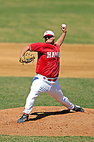 21 April 2007: University of Hartford Hawks' Pete Moraski, a Junior from Hamden, CT, pitches a one-hitter against the University of Vermont Catamounts at Historic Centennial Field, in Burlington, Vermont. Moraski's fine effort wasn't enough however, as the single hit earned a win for the Catamounts who defeated the Hawks 1-0 in the first game of a double-header...Mandatory Photo Credit: Ed Wolfstein Photo