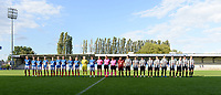 20190810 - DENDERLEEUW, BELGIUM : both team line ups pictured during the female soccer game between the Greek PAOK Thessaloniki Ladies FC and the Northern Irish Linfield ladies FC , the second game for both teams in the Uefa Womens Champions League Qualifying round in group 8 , Wednesday 7 th August 2019 at the Van Roy Stadium in Denderleeuw  , Belgium  .  PHOTO SPORTPIX.BE | DAVID CATRY