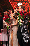 """Karen Olivo and Aaron Tveit during the Broadway Opening Night performance Curtain Call bows for """"Moulin Rouge! The Musical"""" at the Al Hirschfeld Theatre on July 25, 2019 in New York City."""