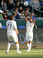 LA Galaxy defender Sean Franklin throws in a ball to Alan Gordon. LA Galaxy defeated the Colorado Rapids 3-2 at Home Depot Center stadium in Carson, California on Sunday October 12, 2008. Photo by Michael Janosz/isiphotos.com