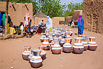 Pottery is sold at the weekly market in Torodi, Niger.  Every Friday, hundreds of people converge on the market from the surrounding villages.