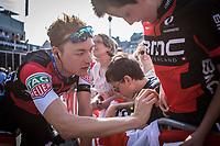 Loïc Vliegen (BEL/BMC) pre signin kids shirt.<br /> <br /> <br /> 104th Liège - Bastogne - Liège 2018 (1.UWT)<br /> 1 Day Race: Liège - Ans (258km)