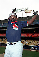 Dmitri Young of the St.Louis Cardinal at Dodger Stadium in Los Angeles,California during the 1996 season. (Larry Goren/Four Seam Images)