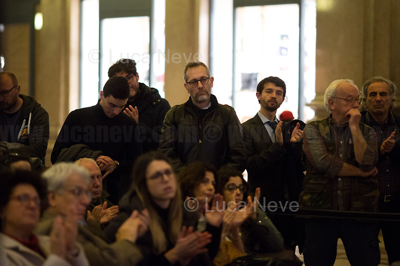 """Corrado Formigli.<br /> <br /> Rome, 03/02/20. The Galleria Alberto Sordi (outside la Feltrinelli store) was the venue for the book presentation """"Giulio Fa Cose"""" (Giulio Does Things, Ed. la Feltrinelli 1.) written by Paola Deffendi and Claudio Regeni (Giulio Regeni's Parents), and Alessandra Ballerini (Regeni's Lawyer). The event was hosted by Marino Sinibaldi (Journalist, literary critic, Radio host). Reader was Valerio Mastandrea (Director & Actor). From la Feltrinelli's website: «The world of politics has not yet responded to the tragedy of Giulio Regeni, who died on 25 January 2016 in Cairo. Al Sisi's Egypt did not respond. Indeed, it continues to sabotage the investigation into the kidnapping, torture and murder of the son of Paola and Claudio Regeni: in four years the Egyptians have killed five innocent people, invented incredible stories, falsified documents to remove suspects from their apparatuses. But without succeeding[…]» (1.)<br /> Giulio Regeni was an Italian Cambridge University graduate (PhD student at Girton College) who was kidnapped, tortured and killed in Egypt while he was researching Egypt's independent trade unions. The body of the 28-year-old researcher was found on a Cairo road on 3 February 2016. According to the autopsy, Giulio died after a vertebra in his neck was fractured. Moreover, his body - found on the Cairo-Alexandria desert road - shown signs of tortures, abrasions - including marks similar to cigarette burns - and fractures. After 4 years of disinformation, depistaggi, reticence, misdirection, the role of the Cambridge University, the role of President Al-Sisi Egyptian regime, after four years of a very difficult investigations for the Italian Police, the Regeni family and thousands of people are still calling for immediate truth about this brutal assassination.<br /> <br /> 1. http://bit.do/fqv39<br /> https://giuliosiamonoi.wordpress.com<br /> http://bit.do/frEzC<br /> 25.01.20 4 Anni Senza Giulio http://bit.do/frExj<br /> Vide"""
