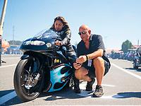 Sep 15, 2019; Mohnton, PA, USA; NHRA pro stock motorcycle rider Jianna Salinas during the Reading Nationals at Maple Grove Raceway. Mandatory Credit: Mark J. Rebilas-USA TODAY Sports