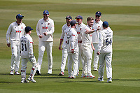 Sam Cook of Essex celebrates with his team mates after taking the wicket of Will Rhodes during Warwickshire CCC vs Essex CCC, LV Insurance County Championship Group 1 Cricket at Edgbaston Stadium on 25th April 2021