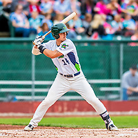 25 July 2017: Vermont Lake Monsters first baseman Aaron Arruda, a 12th round draft pick for the Oakland Athletics, in action against the Tri-City ValleyCats at Centennial Field in Burlington, Vermont. The Lake Monsters defeated the ValleyCats 11-3 in NY Penn League action. Mandatory Credit: Ed Wolfstein Photo *** RAW (NEF) Image File Available ***