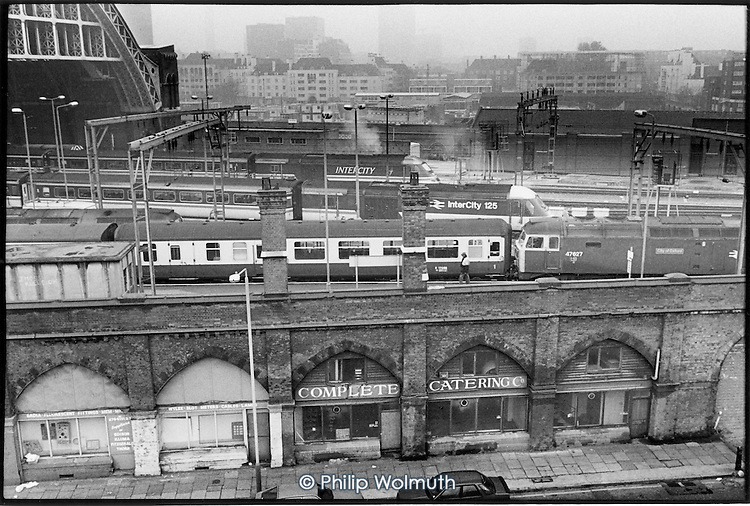 View of St Pancras Station, Kings Cross, 1989.