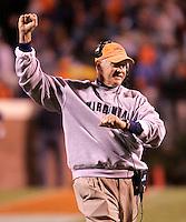 Virginia head coach Al Groh celebrates during the 30-10 Virginia win over Clemson Thursday October 7, 2004 at Scott stadium in Charlottesville, Va (AP Photo/The Daily Progress/Andrew Shurtleff)