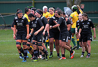 The Black Ferns celebrate a try during the 2017 International Women's Rugby Series rugby match between the NZ Black Ferns and Australia Wallaroos at Rugby Park in Christchurch, New Zealand on Tuesday, 13 June 2017. Photo: Dave Lintott / lintottphoto.co.nz