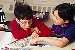 special needs: Fragile-X inclusion, boy, age 9, art class: w. other student, interaction