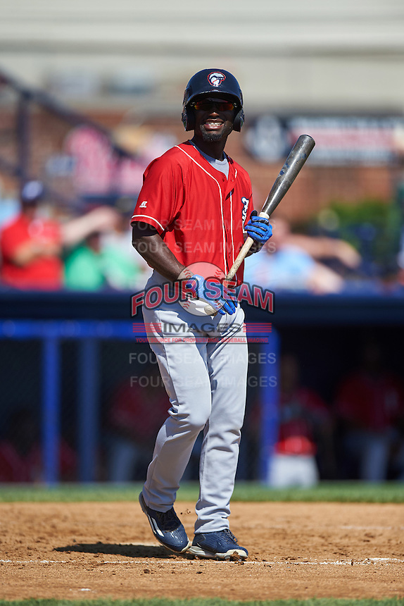 New Hampshire Fisher Cats center fielder Roemon Fields (4) at bat during a game against the Reading Fightin Phils on June 6, 2016 at FirstEnergy Stadium in Reading, Pennsylvania.  Reading defeated New Hampshire 2-1.  (Mike Janes/Four Seam Images)