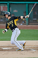 Taylor Ward (3) of the Salt Lake Bees bats against the Nashville Sounds at Smith's Ballpark on July 27, 2018 in Salt Lake City, Utah. The Bees defeated the Sounds 8-6. (Stephen Smith/Four Seam Images)