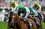 LOUISVILLE, KY - MAY 05: Proctor's Ledge #6, ridden by John Velazquez, wins the Longines Churchill Distaff Turf Mile on Kentucky Derby Day at Churchill Downs on May 5, 2018 in Louisville, Kentucky. (Photo by Mary Meek/Eclipse Sportswire/Getty Images)