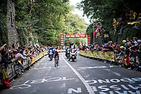 Julian Alaphilippe (FRA/Deceuninck - Quick Step) solo's up the Keizersberg one last time<br /> <br /> Elite Men World Championships - Road Race<br /> from Antwerp to Leuven (268.3km)<br /> <br /> UCI Road World Championships - Flanders Belgium 2021<br /> <br /> ©kramon