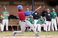 Left fielder Zacchaeus Rasberry (4) of the Presbyterian College Blue Hose in a game against the University of South Carolina Upstate Spartans on Tuesday, March 23, 2021, at Cleveland S. Harley Park in Spartanburg, South Carolina. (Tom Priddy/Four Seam Images)
