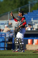 Batavia Muckdogs catcher Pablo Garcia (7) during a game against the State College Spikes on June 23, 2016 at Dwyer Stadium in Batavia, New York.  State College defeated Batavia 8-4.  (Mike Janes/Four Seam Images)