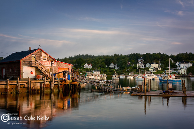 Lobster shack at sunrise in Stonington Harbor, Stonington, ME, USA