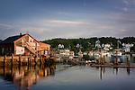 Lobster shack at sunrise in Stonington Harbor, Stonington, ME, USA