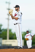 Nashville Sounds starting pitcher Taylor Jungmann (33) looks to his catcher for the sign against the \ok at Greer Stadium on July 25, 2014 in Nashville, Tennessee.  The Sounds defeated the RedHawks 2-0.  (Brian Westerholt/Four Seam Images)