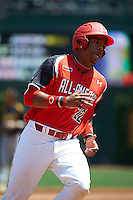 First baseman Domonic Smith #22 of Serra High School in Los Angeles, California participates in the Under Armour All-American Game powered by Baseball Factory at Wrigley Field on August 18, 2012 in Chicago, Illinois.  (Mike Janes/Four Seam Images)