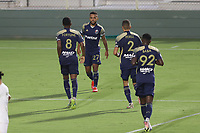 CARY, NC - AUGUST 01: Dre Fortune #8 celebrates his goal with DJ Taylor #27 during a game between Birmingham Legion FC and North Carolina FC at Sahlen's Stadium at WakeMed Soccer Park on August 01, 2020 in Cary, North Carolina.