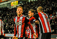 Sheffield United's midfielder Mark Duffy (21) eggs on the Sheffield United's Kop during the Sky Bet Championship match between Sheff United and Hull City at Bramall Lane, Sheffield, England on 4 November 2017. Photo by Stephen Buckley / PRiME Media Images.