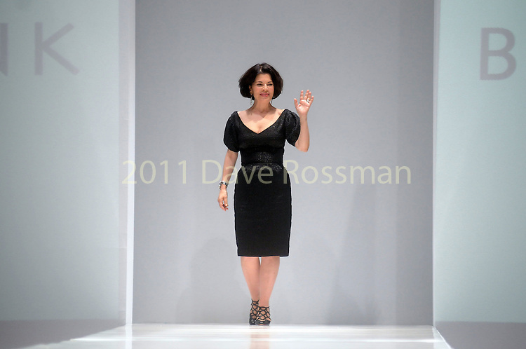 Designer Barbara Tfank thanks the crowd after her show at the first night of Fashion Houston at the Wortham Theater Monday Oct. 10,2011.(Dave Rossman/For the Chronicle)