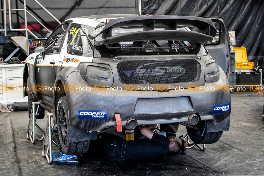 Race mechanics work on Mark Donnelly's, Citreon DS3, BRX Supercars during the 5 Nations BRX Championship at Lydden Hill Race Circuit on 31st May 2021