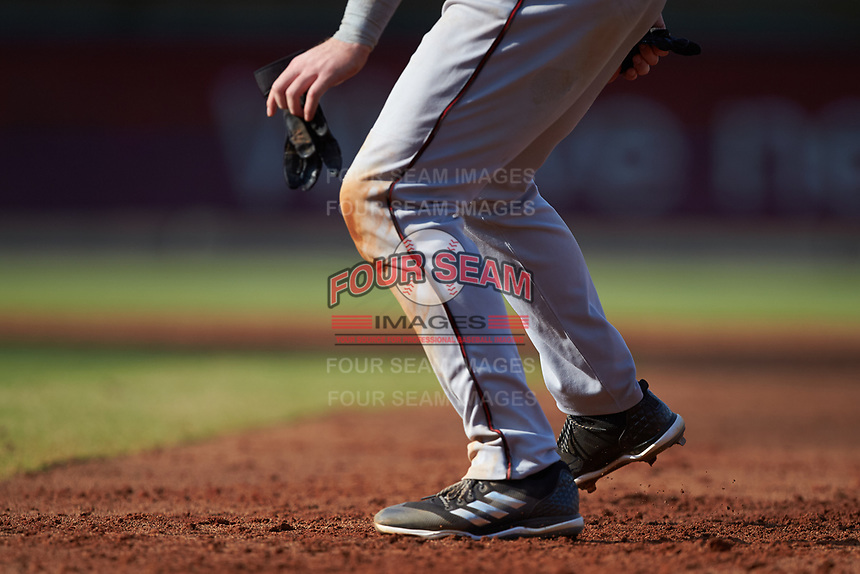 Pat McInerney (29) of the Carolina Mudcats takes his lead off of first base against the Winston-Salem Dash at BB&T Ballpark on June 1, 2019 in Winston-Salem, North Carolina. The Mudcats defeated the Dash 6-3 in game one of a double header. (Brian Westerholt/Four Seam Images)